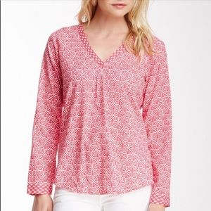 C. Wonder Mixed Print Popover Blouse In Navy